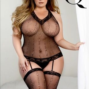 Other - Plus size Bodystocking with attached leg stockings